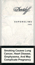 DAVIDOFF SUPER SLIMS ONE (WHITE) 100`S Cigarettes 10 cartons